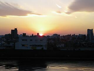 岩淵水門付近の夕日